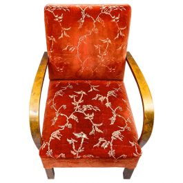 Art Deco Armchairs Open Arms Pair of Early 20th Century Honey Color Red Swedish