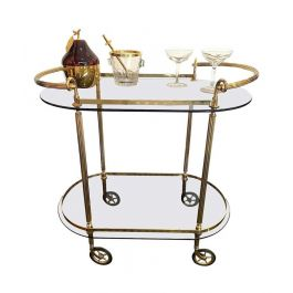 1960S Italian Midcentury Bar Trolley With Smoked Glass Shelves And Brass Handles