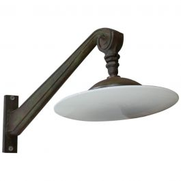 Exceptional Pair of Industrial Opaline Wall Lights