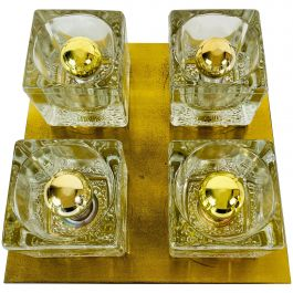 Brass and Frosted Ice Glass Cube Flush Mount by Peill & Putzler, 1970s