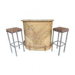 1970S FRENCH RIVIERA BAMBOO BAR WITH DECORATIVE FLORAL DESIGN FRONT