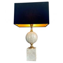 1970S Maison Barbier Travertine And Brass Lamp With New Bespoke Shade