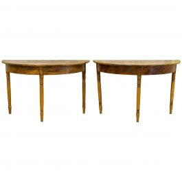 Antique Swedish Gustavian Demilune Tables Early 19th Century Faux Wood Grain