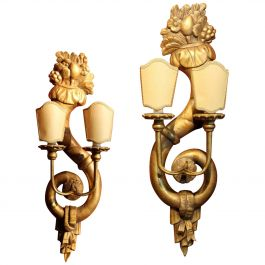 Italian 19th Century Neoclassic Hand Carved Giltwood Two Lights Wall Sconces