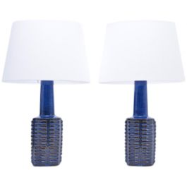 Stoneware Blue Vintage Table Lamps by Einar Johansen for Søholm, 1960s, Set of 2