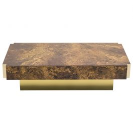 Rare Golden Lacquer and Brass Maison Jansen Coffee Table, 1970s