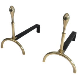 PAIR OF NEOCLASSICAL STYLE BRASS AND IRON ANDIRONS