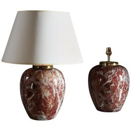 Pair of 20th Century Italian Faux Breche d'Alep Marble Porcelain Table Lamps