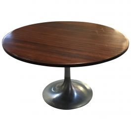 Mid-Century Modern Italian Side Table with Aluminum Base and Rosewood Top. 1970s