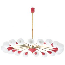 Rare and Large Italian 18 Arms Opaline Glass and Brass Spider Chandelier, 1950s