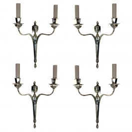 Set of Four English Silver Neoclassical Sconces