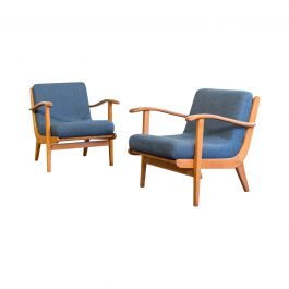 A Pair Of Blue Curvaceous Oak Ladderback Easy Chairs