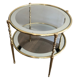 Round Brass Side Table With Glass Shelves Surround