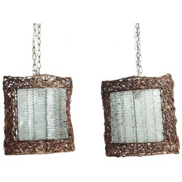 A Pair of 1970's Glass Shard and Wicker Lantern Pendants