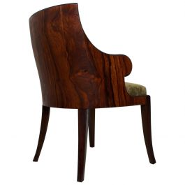 Pair of French Art Deco Exotic Rosewood Barrel Back Tub Arm Chairs