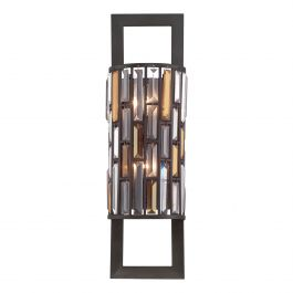 Vintage Bronze Frame Wall Light with Coloured Prisms