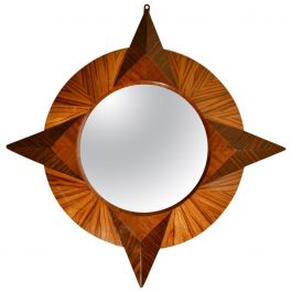 Small Round Wall Mirror in Zebra Wood