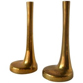 1970s Pair Of Italian Single Flower Brass Vases