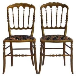 Pair of Side Chairs French Napoleon III Chiavari