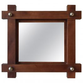 Small French 1950s Leather Square Mirror