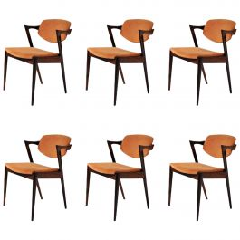 Set of Six Kai Kristiansen Dining Chairs in Rosewood, Includes Re-Upholstery