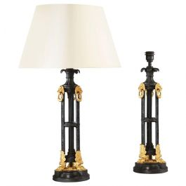 Pair of Bronze and Ormolu Lamps