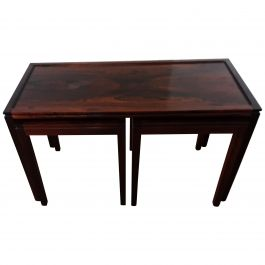 Midcentury Nest of Tables in Deep Brown Figured Rosewood circa 1960 from Denmark