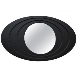 Oval Black Leather Framed Mirror