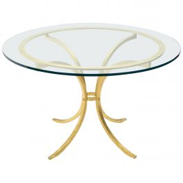 French Midcentury Roger Thibier Gilt Wrought Iron Gold Leaf Glass Dining Table