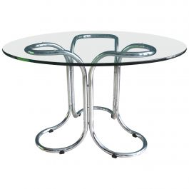 Vintage Circular Glass Table in the Style of Giotto Stoppino with Metal Base