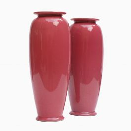 A Pair of Rose Glazed Christopher Dresser Vases by Ault Pottery, 1890s