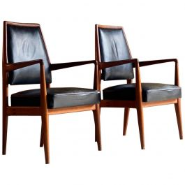 Midcentury Danish Teak and Leather Desk Chairs Armchairs, circa 1960s