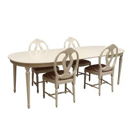 Gustavian Dining Table with 4 carved Rose chairs