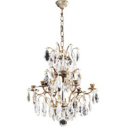Antique 6 Arm Crystal Rococo Chandelier with different cut crystals 1900's