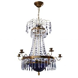 Antique 6 Arm Crystal Empire Chandelier with decorative blue glass bowl 1900's