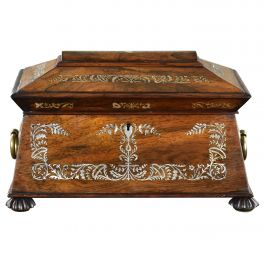 19th Century English Regency Rosewood and Mother of Pearl Inlaid Tea Caddy