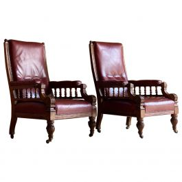 Pair of English Antique Oak and Leather Library Armchairs, circa 1860