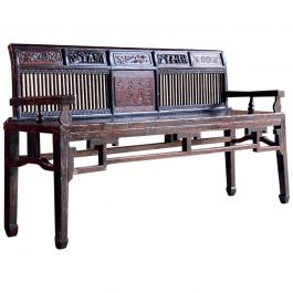 Antique Chinese Hall Seat Bench Heavily Carved Qing Dynasty, 19th Century, 1860