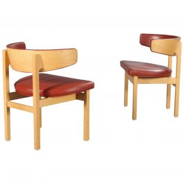 Set of Six Danish Borge Mogensen Conference Chairs in Oak, Inc. Re-Upholstery