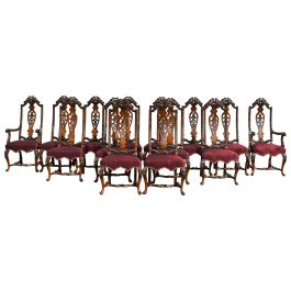 Set of 14 20th Century English Antique Queen Anne Style Dining Chairs