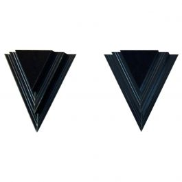 Dutch Modern Glass and Steel Triangular Wall Sconces