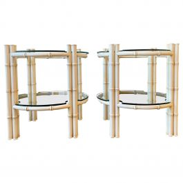 Pair of Faux Bamboo Circular Side Tables