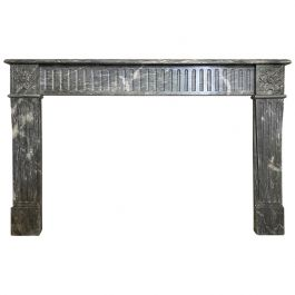 Antique French Louis XVI 18th Century Bardiglio Marble Fireplace Mantel