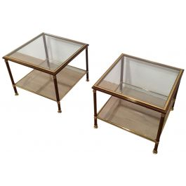 PAIR OF BRASS AND BURGUNDY LACQUERED SIDE TABLES