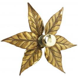 Floral Brutalist Brass Metal Wall Ceiling Light by Willy Daro, Belgium, 1970s