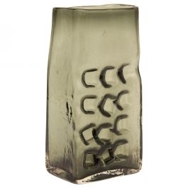Whitefriars Willow Coloured Glass Hobnail Slab Vase by Geoffrey Baxter