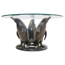 Sculptural Bronze Penguin Coffee Table by J. Daste