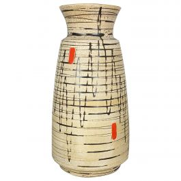 Large Op Art Abstract Pottery Floor Vase Made by Bay Ceramics, Germany, 1960s