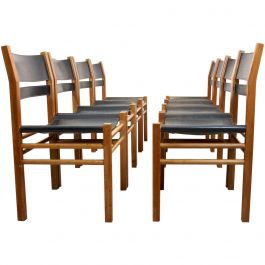 Unique Set of Eight Oak and Saddle Leather Scandinavian Chairs