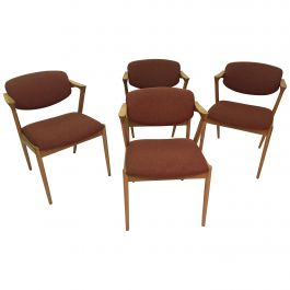 Kai Kristiansen Set of Four Restored Dining Chairs in Oak, Inc. Reupholstery